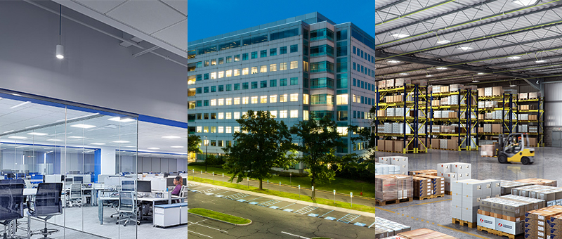 3 panel image of office, building, and warehouse