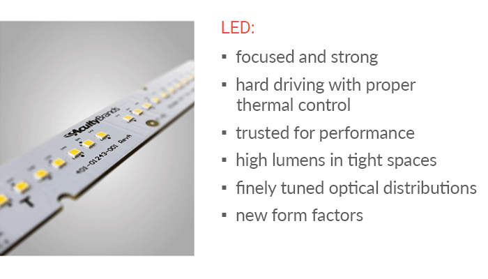 Peerless Olessence LED linear lighting is focused and strong